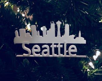 Seattle Skyline Tree Ornament 3D-Printed