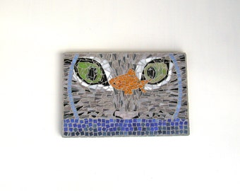 Mosaic Wall Art, One of a Kind Art, Whimsical Art Display, Crazy Cat Lady, Gift Women, Cat Mosaic, Cat Looking at Goldfish, Free Shipping