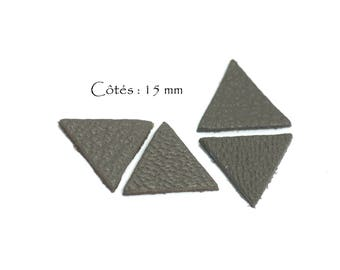 6 triangles genuine leather - Triangle - sides: 15 mm - goat leather - charcoal grey color set