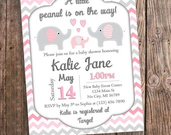 Pink elephant baby shower invitations pink chevron elephant pink elephant baby shower invitation pink and gray chevron pink elephant baby shower printable pink elephant theme invitations digital filmwisefo