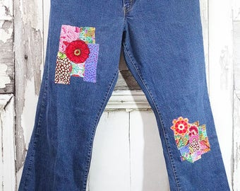 Upcycled Jeans Boro Hand Patched Upcycled Clothing  Bohemian Clothing Women's Jeans  Wearable Art Clothing