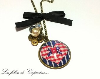 Cabochon • to • button Heart Necklace