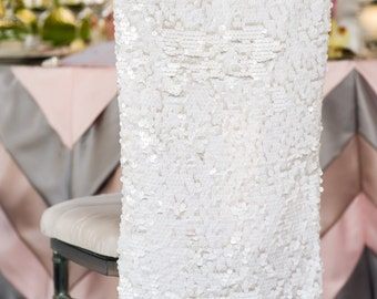 Simple White Matte Sequins/Payette Chiavari Chair Covers for the Bride and Groom, Quinceanera or Special Event