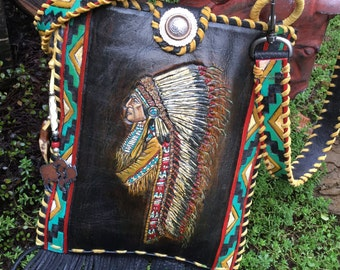 SOLD**** Special Order**Southwestern Hand  Tooled Leather Chief Headdress Feather Art  Cross Body Handbag