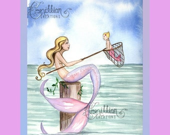 Mermaid Catching Baby Original Watercolor Painting by Camille Grimshaw
