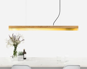 Pendant light [C1o]brass oak wood lamp
