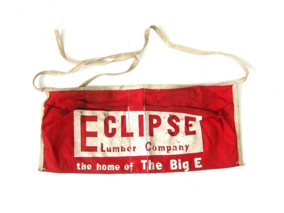 Red Eclipse Lumber Company Cotton Apron Print Advertising Construction Worker Tool Belt Waist Apron hardware Pouch