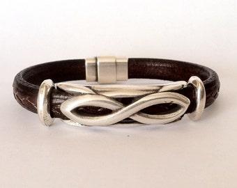 Leather bracelet,  Valentines day, Infinity bracelet, infinity symbol jewelry,  Leather bracelet for men, infinity bracelet