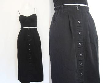 Basic black button up skirt, vintage heavy cotton skirt -- pleated, long black skirt, minimalist, maxi, 1990s 90s clothing, medium