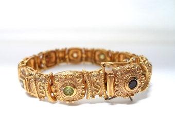 Gold Vermeil Over Sterling Jeweled Bracelet Etruscan Byzantine Style Vintage Gemstone Bracelet