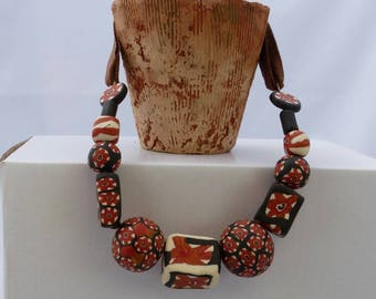 Black and rust polymer paste necklace