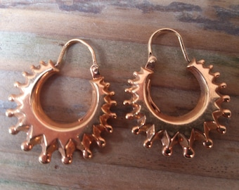 Victorian style 9ct gold vintage creole earrings