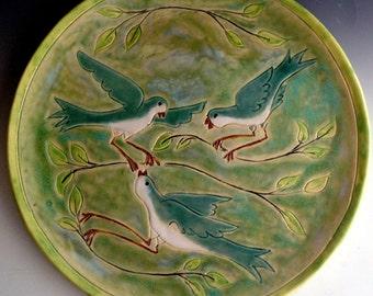 Bird Platter, Decorative Platter, Wall Plate with bird motif, Stoneware platter by Leslie Freeman