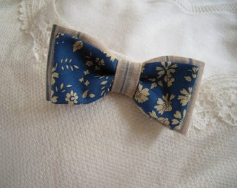 bowtie Liberty and woven blue and ecru linen