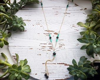 essential oil necklace, aromatherapy necklace, diffuser necklace, lava stone necklace, lava diffuser necklace, y necklace, lariat necklace