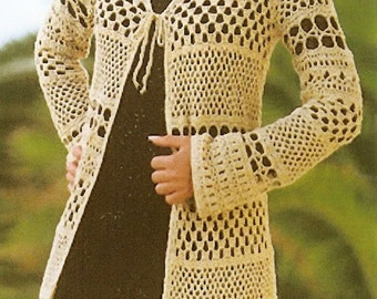 Elegant Multi-Stitch Crocheted Long Cardigan - Made to Order