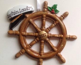 Personalized Christmas Ornament Boat Wheel ,Sailboat, Yacht, Ship, Nautical Theme - Birthday, wedding Gift/ Gift Tag