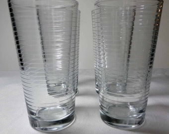 Set of 4 Clear Glass ringed pattern juice and water tumblers drinking glasses