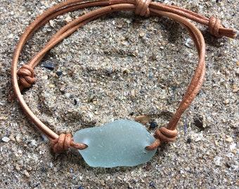 Welsh Gower sea glass leather bracelet/beach glass/recycled/adjustable nautical bracelet
