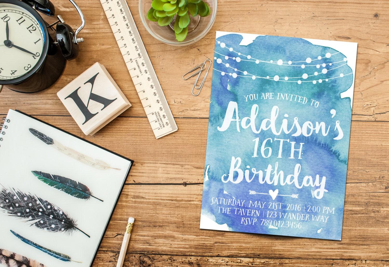 18th Birthday Party Invitation Printable 13th 14th 15th