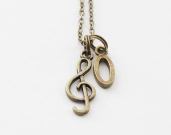 Treble Clef Necklace, Initial Jewelry, Music Necklace, Music Teacher Gift, Musician Gift, Singer Necklace, Graduation Gift, Music gift