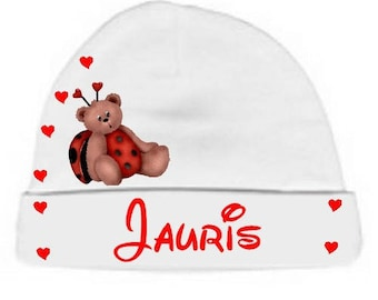 Personalized with name White Teddy bear lady bug baby Hat