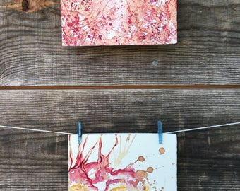 I Fall Asleep but to Dream ~ To Look Above   - Original Wine Watercolor - 4inx6.5in each