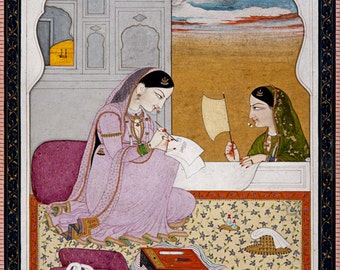 Indian Art: Lady Writing a Love Letter. Fine Art Print/Poster (0052)
