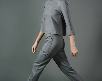 Geometric knitted grey combo - trousers and cropped top.