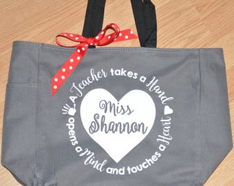 Teacher Tote, Personalized Teacher Goody Bag, Teacher Takes a Hand and Touches a Heart, Teacher Appreciation Gift, End of Year Teacher Gift