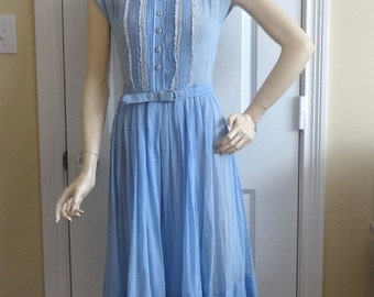 1950s Vintage Blue Sheer Day or Town Dress by R & K Originals, Lace Trim, Rhinestone Buttons Vertical Tucks, Vintage Clothing, Vintage Dress