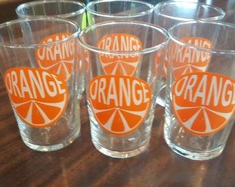Set of 6 Mod Orange Juice Glasses