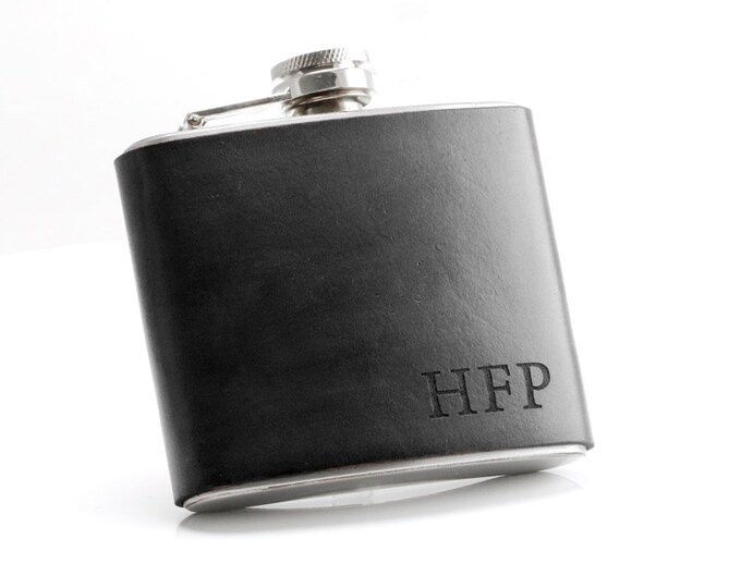 Black Flask, Gift for Dad, Father in Law Gift, Gift for Husband, Brother Gift, 50 Men Gift, Personalized Leather, Hip Flask, Mens Cave Gift