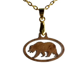 Small California Redwood Burl Wood Pendant  in the Shape of a California Bear on Gold Chain