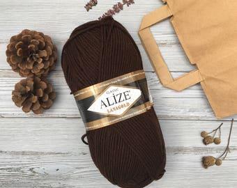 Alize lana gold, Acrylic wool yarn, gift for knitter chocolate yarn knitting yarn, Merino wool Chunky yarn brown wool yarn crochet wool yarn