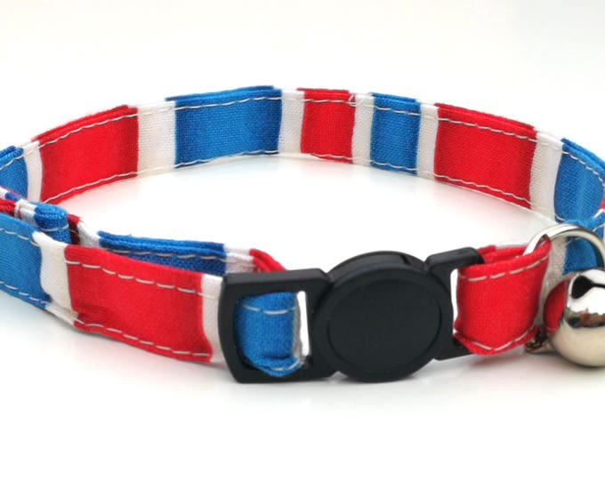 Featured listing image: Red, White and Blue stripe design - quick release safety clasp - Royal Wedding