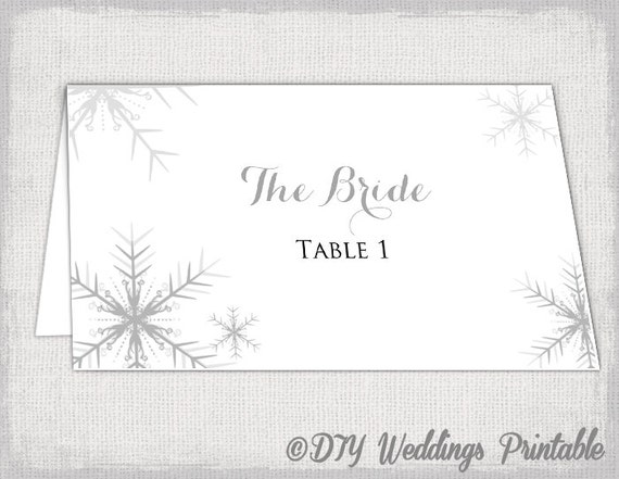 Winter Wedding Place Card Template Snowflakes - Wedding place card template word