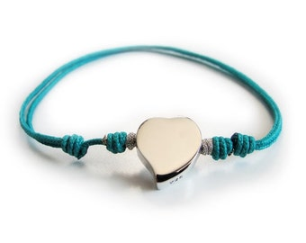 Sterling silver heart bracelet with cord
