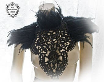 Black swan lace and feather collar-feather neckpiece-feather collar-lace and feather neck and shoulder piece-gothic collar