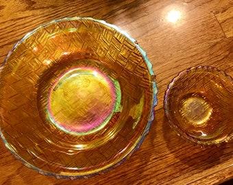 Anchor Hocking Fire King Chip & Dip Set Basket weave Pattern Amber Iridescent