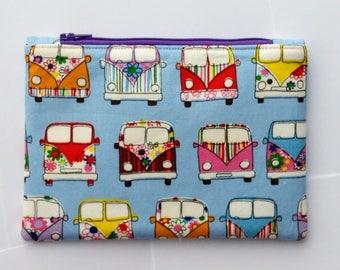 Light Blue VW camper van fabric pouch, Cute and versatile fabric zipper pouch,  stocking filler, stocking stuffer