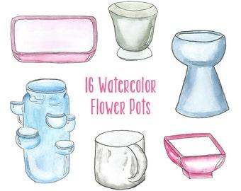 Watercolor Flower Pot Clipart // Garden Clipart