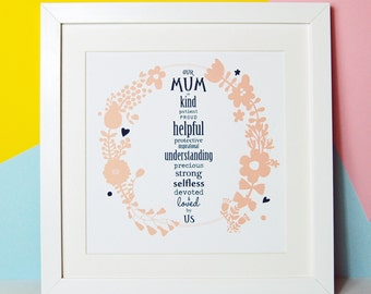 Mum Print - Word Art - Mother Birthday Gift - Floral Mummy Print