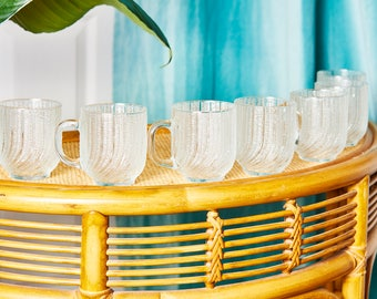 Vintage Glass Mug Set by Arcoroc USA - Set of 8 Mugs - 80s Glassware