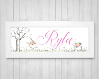 Woodland Decor - Bunny Baby Shower Gift - Bunny Nursery Decor - Personalized Name Print - FRAMED Nursery Art - Little Girls Room - Rabbit
