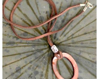 Eyeglass Holder - Necklace. Glasses Lanyard.  Mother of Pearl Oval Ring Pendant. Ring Eye Glass Holder. Suede Glasses Holder.