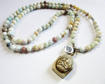 Ganesha Essential Oil Diffuser Mala - Ganesh box necklace - frosted amazonite aromatherapy diffuser necklace - essential oil diffuser gift
