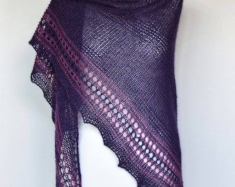Alpaca triangle shawl, Hand knit alpaca wrap, Soft wool shawl, Triangle knit wrap, Purple shawl, Gift for women