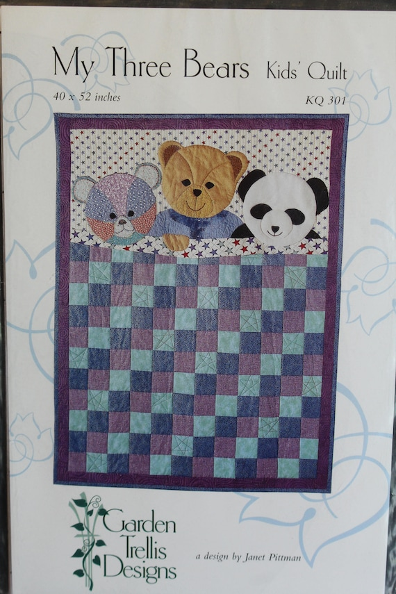 My Three Bears Kids Quilt Pattern KQ 301 by Garden Trellis Designs
