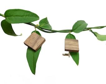 Walnut Square Cufflinks   Handmade Wood Jewellery   Men Gift